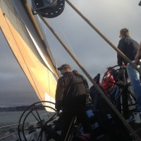 Heeling on USA 76 on San Francisco Bay