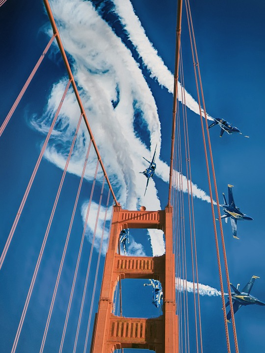 Blue Angels doing stunts over golden gate bridge.