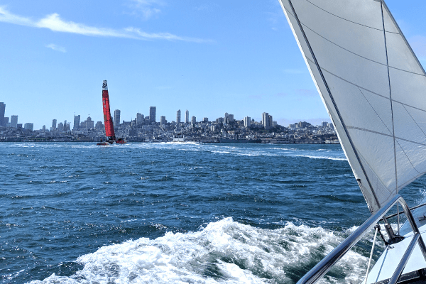 SailGP China in front of San Francisco Skyline
