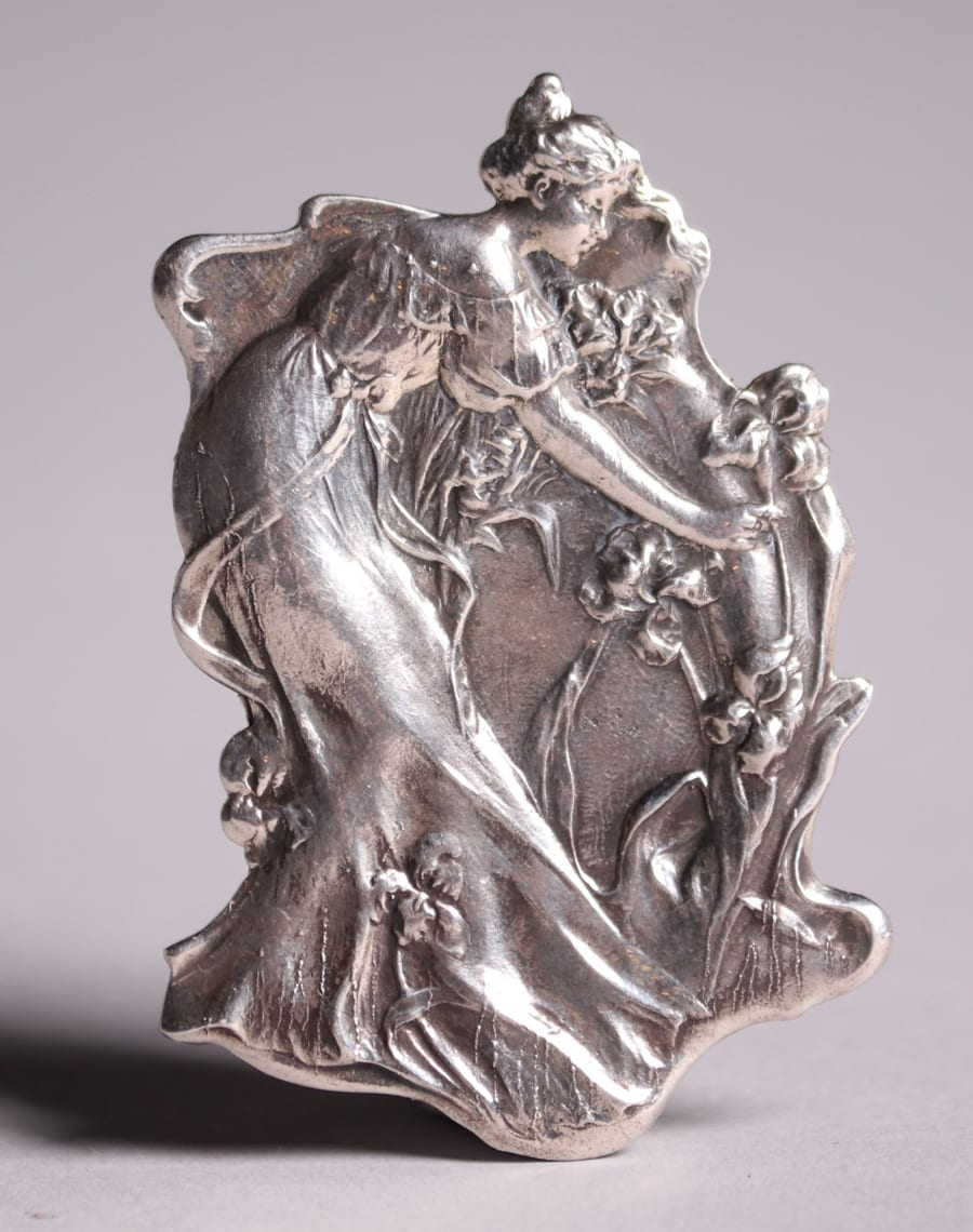 Sterling Silver Art Nouveau Lady Picking Flowers Brooch