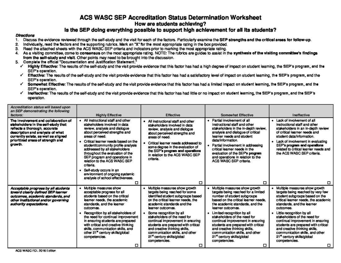 Accreditation Explanation Worksheet Accrediting