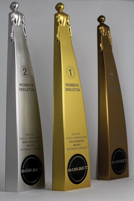 Winner trophies by BORBET for the Bob and Skeleton World Championship 2015 in Winterberg.