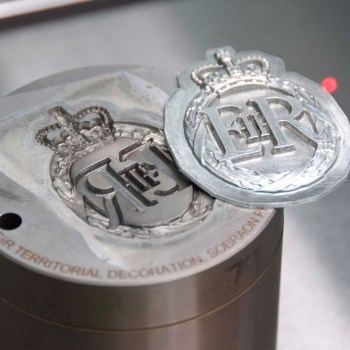 Very deep 3D laser engraving of an embossing tool for medals.
