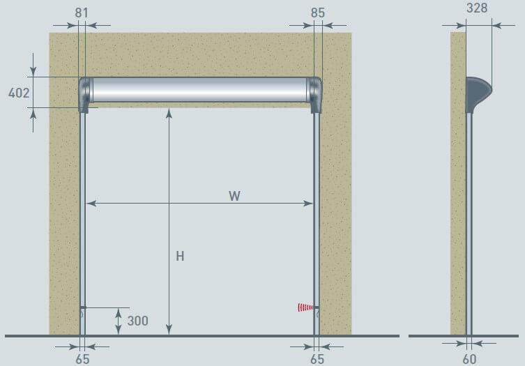 ACRD20 High Speed Cleanroom Door Diagram
