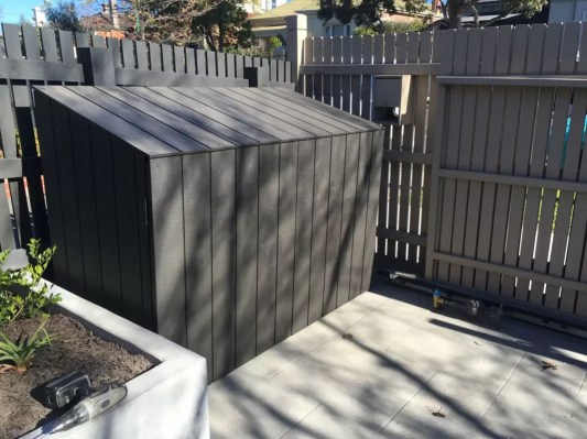Builder for Waste Bin Corrals. Hide wheelie bins. Rubbish bin box. Tidy backyards. Backyard makeover.