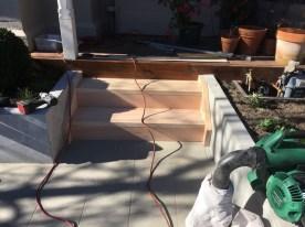 Timber backyard steps built. Builder for decking stairs. Garden steps supplied.