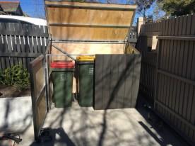 Wheelie bin corral. Hide rubbish bins. Backyard makeover. Waste bin corral. Builder for garden box.