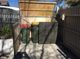 Wheelie bin corral. Hide rubbish bins. Backyard makeover. Waste bin corral. Builder for garden box.