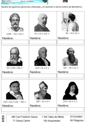 Antiguos matematicos operaciones combinadas
