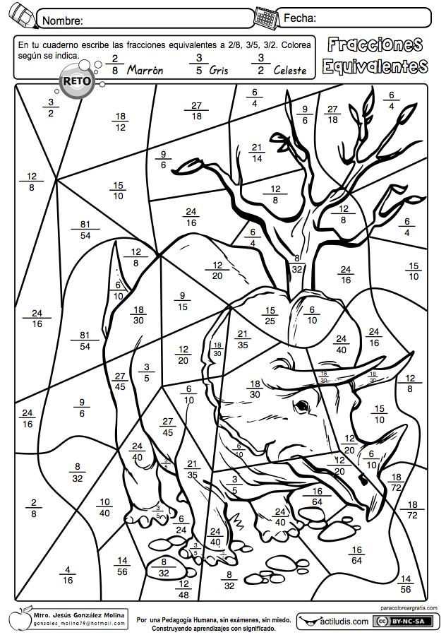 ejercicios de fracciones equivalentes para imprimir pdf