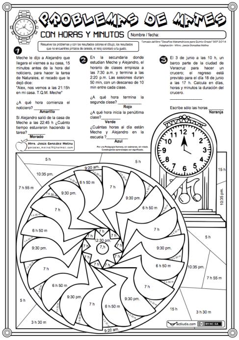 Problemas con horas y minutos - Actiludis