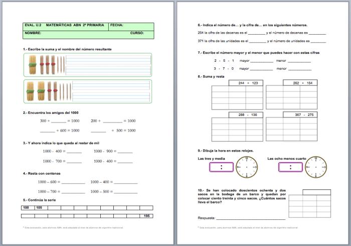 Evaluación Unidad 2 Matemáticas Abn 1º Y 2º De Primaria Actiludis