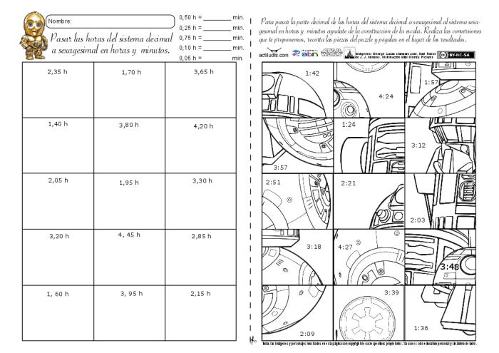 Sistema decimal y sexagesimal con horas 02