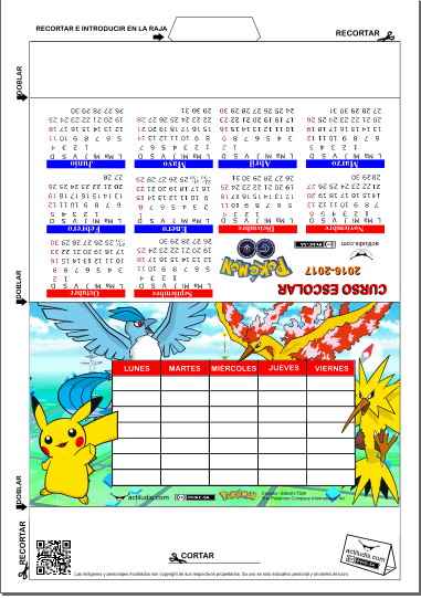 CALENDARIO SOBREMESA POKEMON GO
