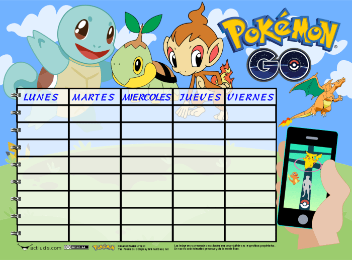 Horario Color Pokemon color