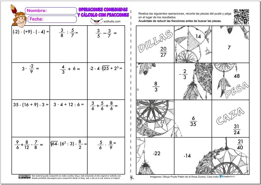 Operaciones combinadas y cálculo de fracciones - Actiludis