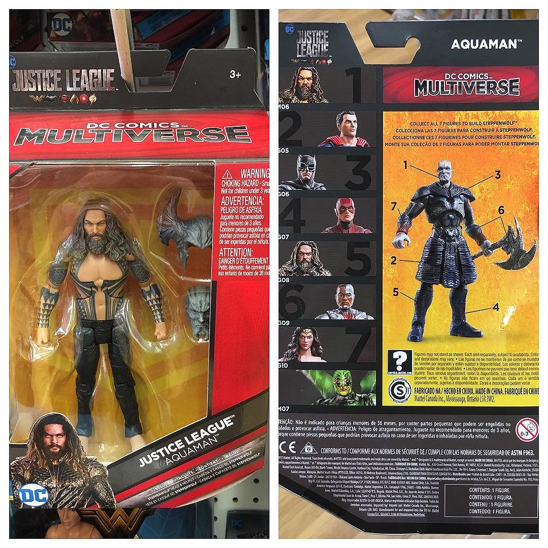 Spotted the new @mattel  @toysrus exclusive @justiceleaguethemovie Shirtless Aquaman. He comes with an alternate CnC Steppenwolf head with a removable helmet... so you can reenact all of those scenes in the move where he NEVER removed his helmet.