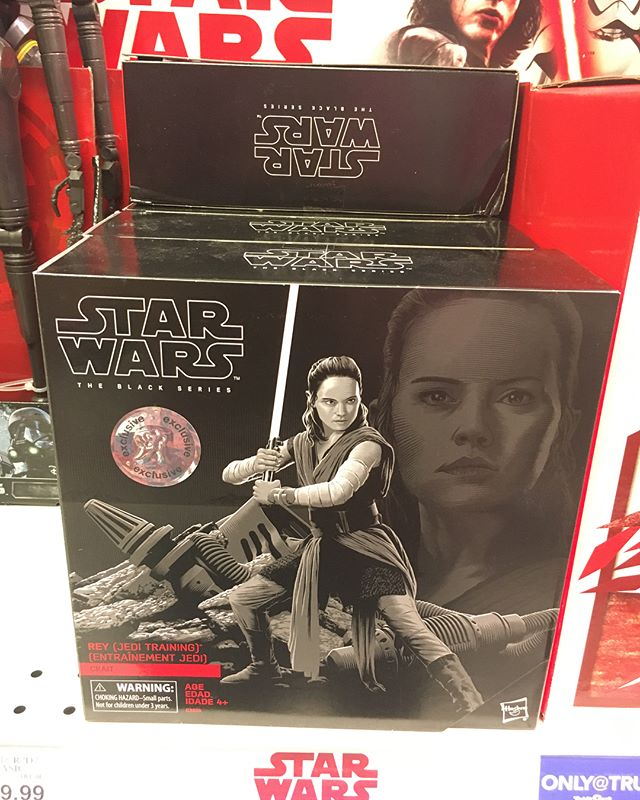 Spotted a fresh stack of @toysrus exclusive @hasbro Jedi Training Rey's tonight. She rang up full price, but with BOGO 40% off. I ordered her online on sale last week. It's a much improved face sculpt/deco