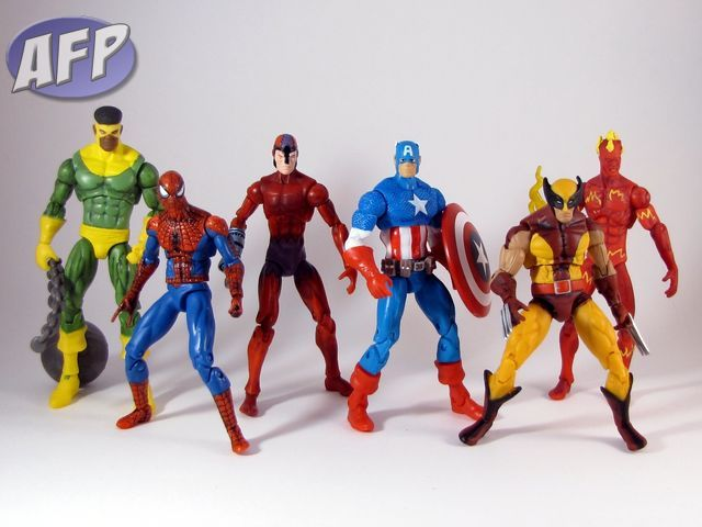 Marvel Universe Secret Wars Wave 1 - Thunderball, Spider-Man, Klaw, Captain America, Wolverine, and Human Torch