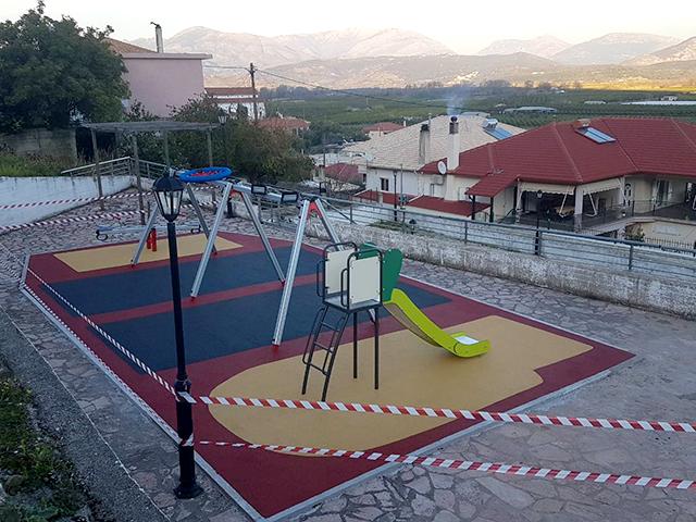 Χυτά δάπεδα ασφαλείας στον Δήμο Φιλιατών