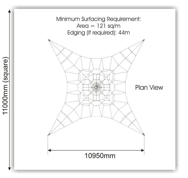 Activity Climbing Net 6m plan view