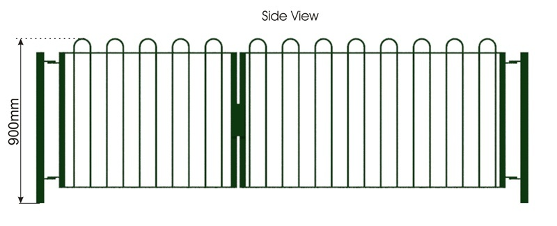 Bowtop Galvanised Fence side view