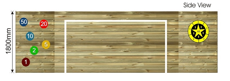 Timber Kick wall with Markings side view