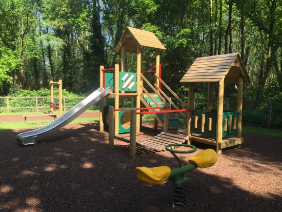 Beauchamp 5 play tower and springy see saw on Tiger mulch safety surfacing