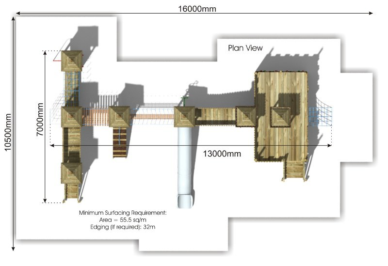 Balloon Wood Play Tower plan view