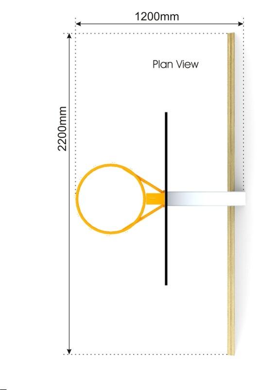 Basketball Hoop with Kickwall plan view