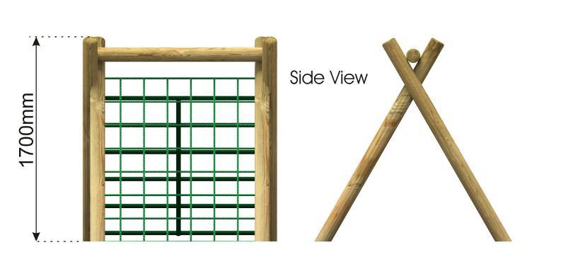 Inclined Climber Scramble Net with Timber Ladder side view