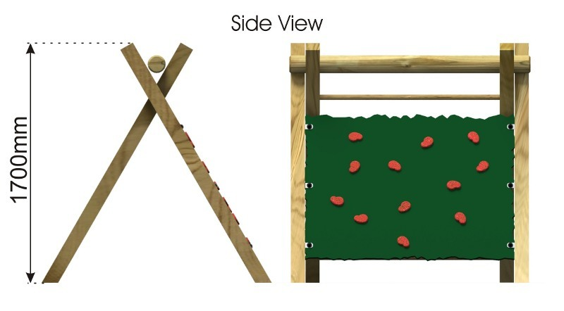 Inclined Climbing Wall with Ladder side view