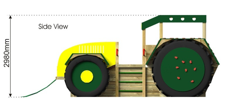 Play Tractor with Climbing Holds side view
