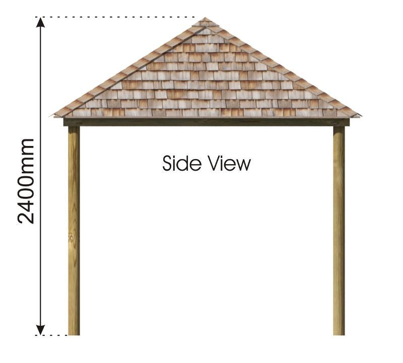 Square Shelter with Shingle Roof side view