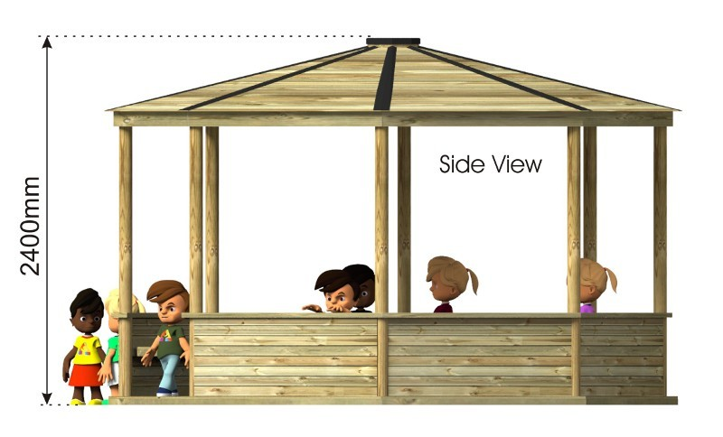 Teen Octagonal Shelter side view