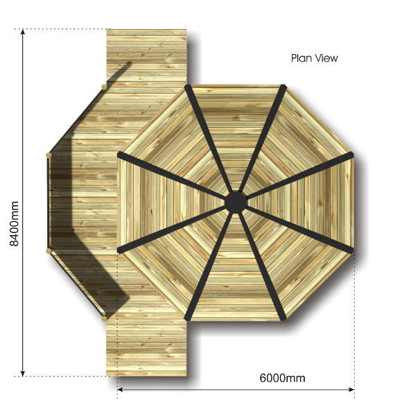Octagonal Outdoor Classroom with Platform plan view