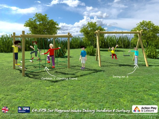 Ready designed playground including group swing climbing frame and trim trail