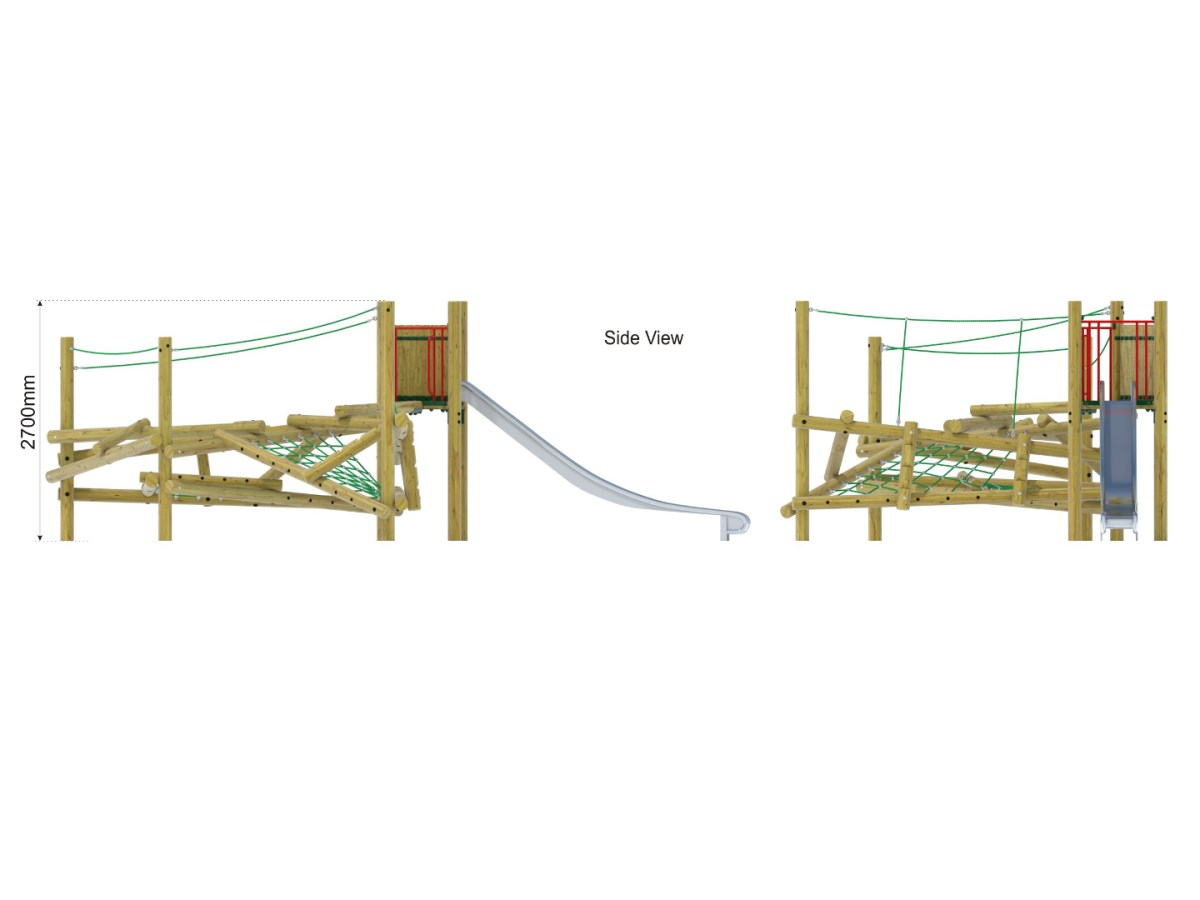 Forest Stack 10 Climbing Frame with Slide side view