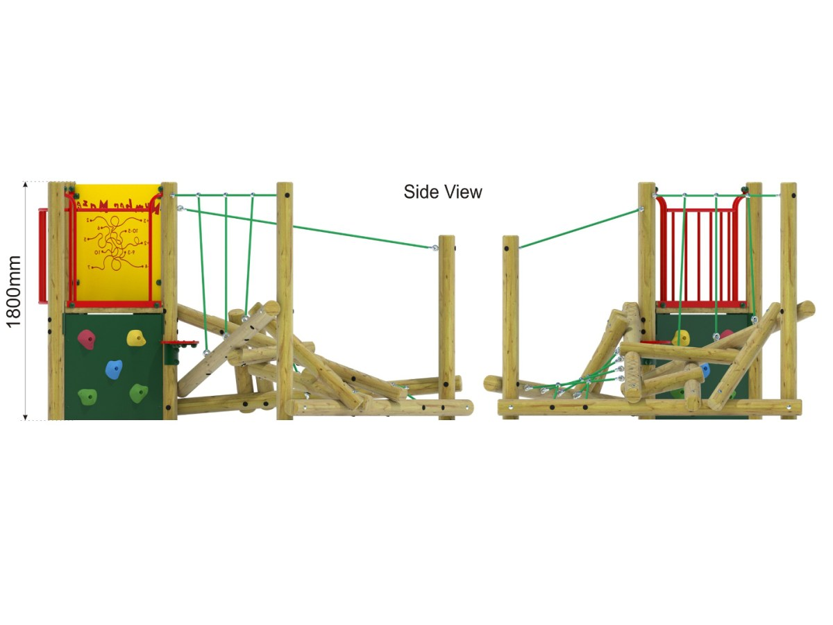 Forest Stack 8 Climbing Frame side view