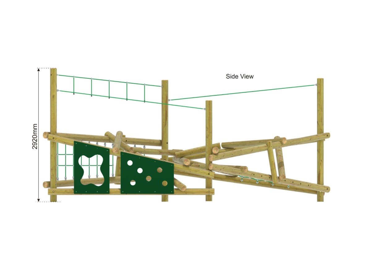Forest Stack 4 Climbing Frame side view