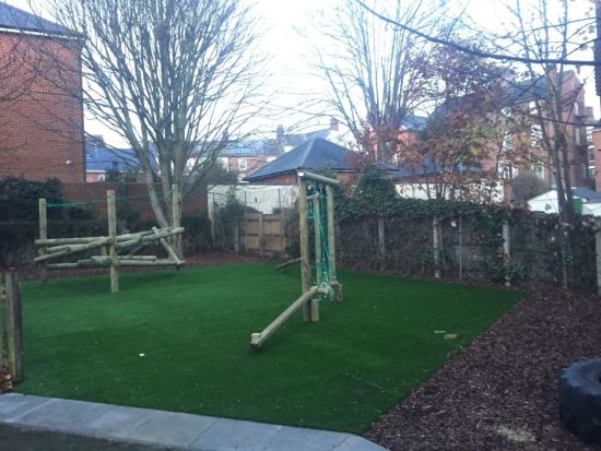 Playground installation with Forest Stack climbing frame