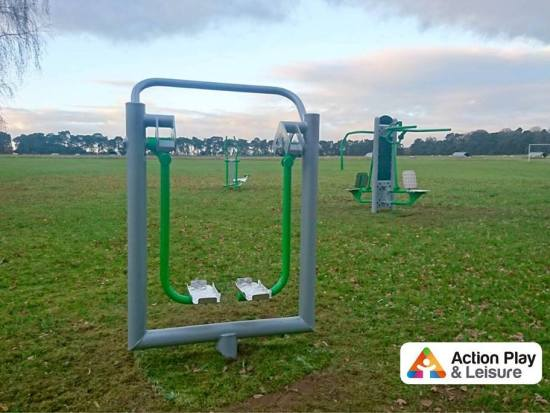 outdoor gym equipment installed in village playing filed at Cockley Cley, Norfolk
