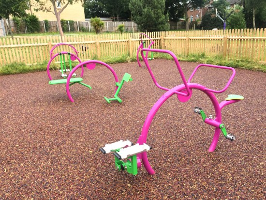 outdoor gym equipment for children in a primary school playground
