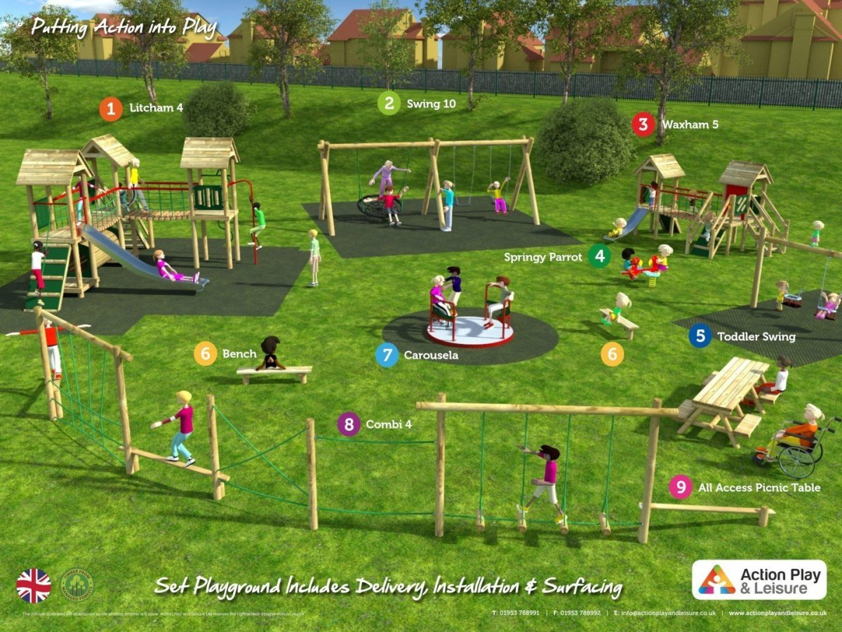 Plan view of playground cost example with 2 climbing frames, a trim trail, roundabout, springer, swings and a wheelchair accessible picnic table