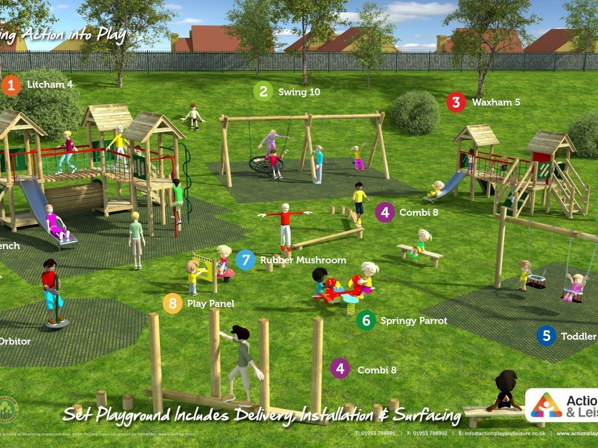 Playground cost example covering the a wide age range with 2 climbing frames with towers, slides, benches, rubber mushrooms, a springer and swings