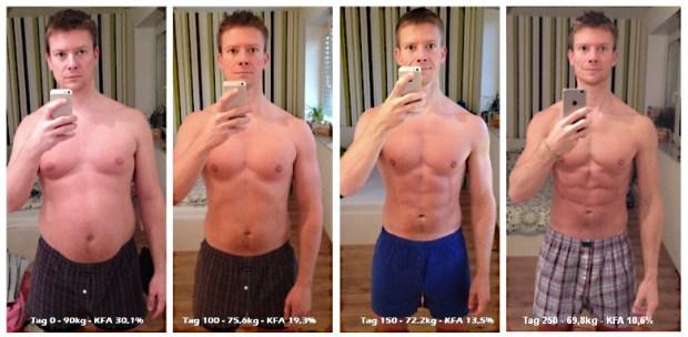 Freeletics Transformation von 91 Kilo auf 69 Kilo