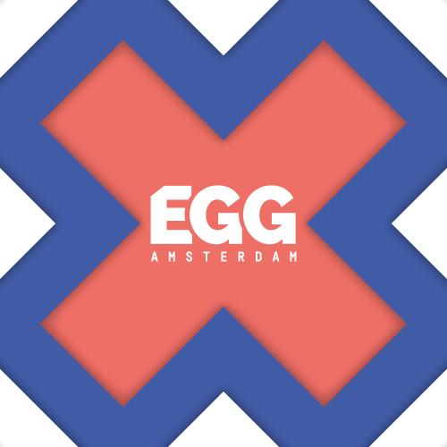 Dit is een afbeelding van het logo voor EGG Amsterdam 2019 #EGGAMS2019 dat in Pakhuis de Zwijger werd gehouden. De huisstijl van EGG Amsterdam, bestaande uit drie Amsterdamse kruizen en blauwe of roze logo van EGG Amsterdam. De stijl van EGG Amsterdam is volledig ontwikkeld door Activates merkversterkend reclamebureau uit Sassenheim in opdracht van Dataiku en Karin Heppener van Heppener makes it happen!