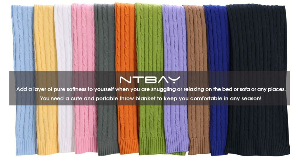 NTBAY 100% Cotton Cable Knit Throw Blanket