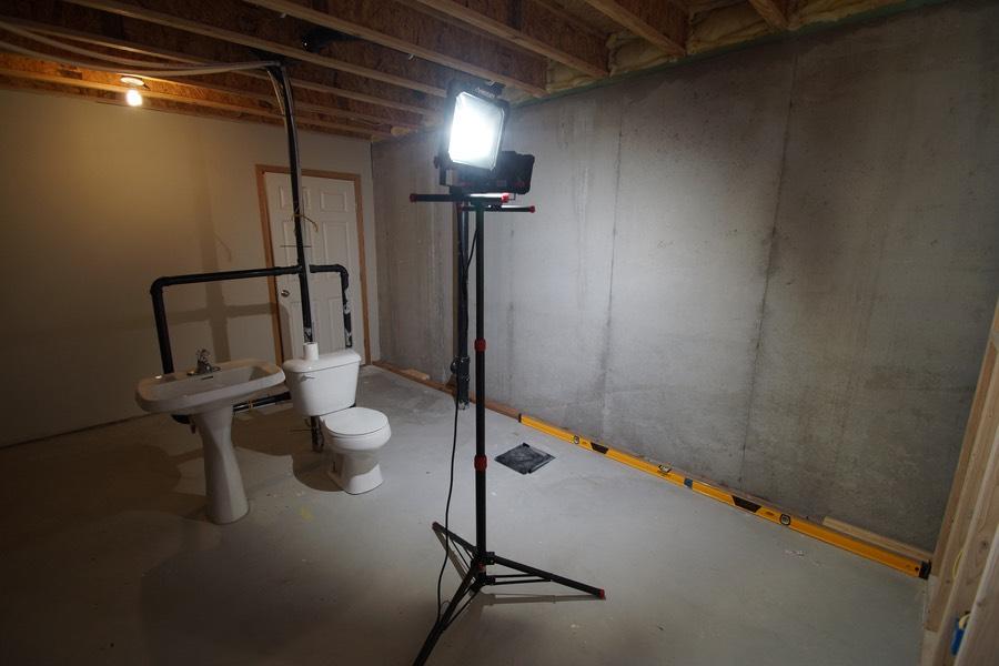 before unfinished basement bathroom