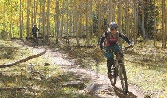 Woman riding a mountain bike